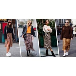 Talbots 100% Silk Leopard Midi Skirt 12